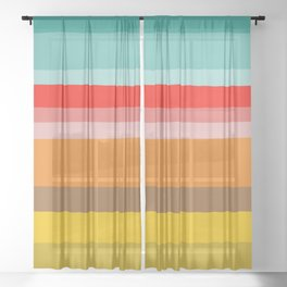Color Stripes Sheer Curtain