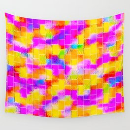 BRICK WALL SMUDGED (Reds, Oranges, Yellows & Fuchsias) Wall Tapestry