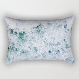 Waves in an abstract white and blue seascape Rectangular Pillow