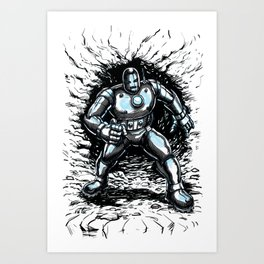 One Small Step for Iron Man Art Print