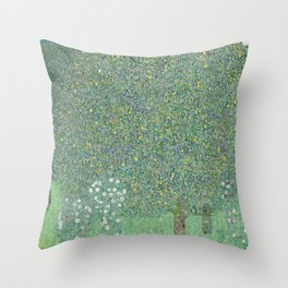 Rosebushes under the Trees - Gustav Klimt Throw Pillow