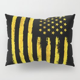 Gold grunge american flag Pillow Sham