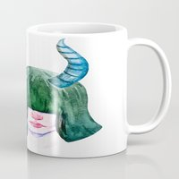 capricorn Mugs featuring Capricorn by Aloke Design