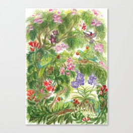 Birds and Orchids Tropical Rainforest II Canvas Print