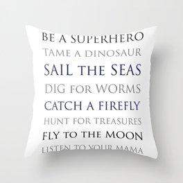 BE A SUPERHERO, black, white, gray, navy palette Throw Pillow