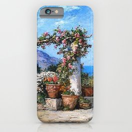 'A Parisian Garden' landscape floral garden painting by Tom Mostyn iPhone Case