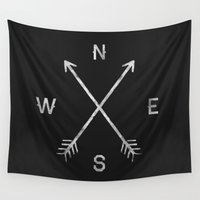 wall clock Wall Tapestries featuring Compass by Zach Terrell