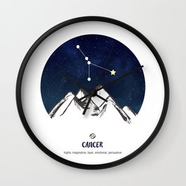 Astrology Cancer Zodiac Horoscope Constellation Star Sign Watercolor Poster Wall Art Wall Clock