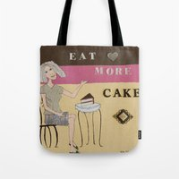 cake Tote Bags featuring Cake by Patty Haberman