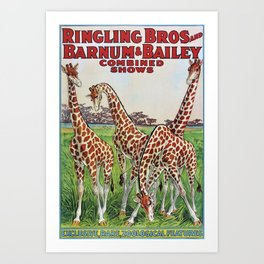 1930's Ringling Brothers & Barnum and Bailey Circus 'Giraffe' Poster Art Print