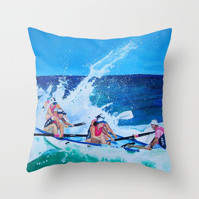 Surf Boat Rowers Throw Pillow