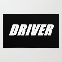 taxi driver Area & Throw Rugs featuring driver by RennSport Productions