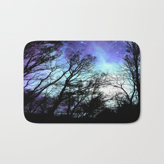 black trees periwinkle blue aqua space Bath Mat