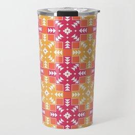 Pink and Orange Detailed Geometric Aztec Digital Pattern Travel Mug