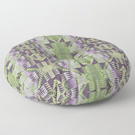 Violet Purple Pink Lime Green Native American Indian Mosaic Pattern Floor Pillow