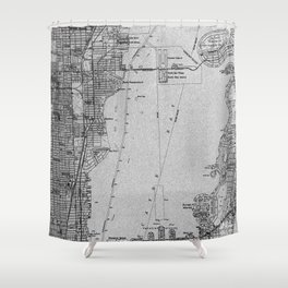 14-Miami Florida 1950 old vintage gray map Shower Curtain