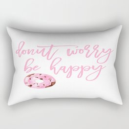 Donut Poster, Donut Worry Be Happy, Home Decor, Pink Poster, Girls Room Decor Rectangular Pillow