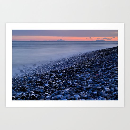 shiny rocks at pink sunset Art Print