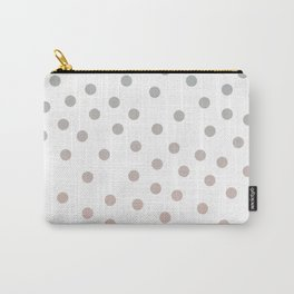 Simply Dots in Coral Peach Sea Green Gradient on White Carry-All Pouch