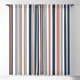 Vertical Stripes in Blues, Blush Coral, Champagne Taupe, and White Blackout Curtain