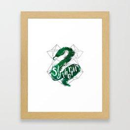 Slytherin Silver Splatter Framed Art Print