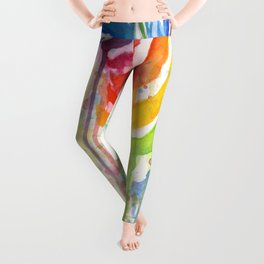 Zebra Watercolor Rainbow Animal Painting Ode to Fruit Stripes Leggings