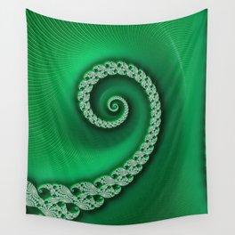 Christmas Green Golden Spiral - Fractal Art Wall Tapestry