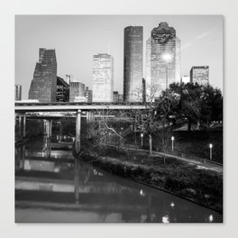 Houston Skyline Over the Buffalo Bayou - 1x1 Monochrome Canvas Print