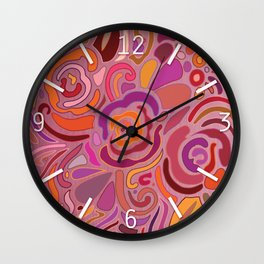 Rose fragments, pink, purple and orange Wall Clock