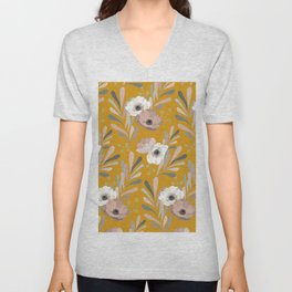 Anemones & Olives Yellow Unisex V-Neck