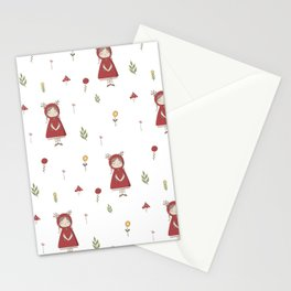 Little Red Riding Hood Girl with Antlers Stationery Cards