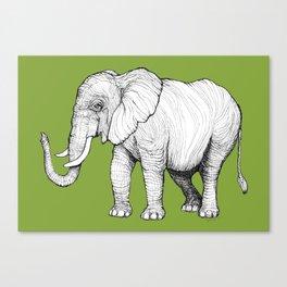 Elephant on Bright Olive Canvas Print
