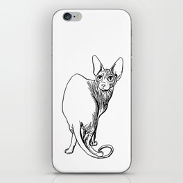 Sphynx Cat Illustration - Sphynx - Cat Drawing - Naked Cat - Wrinkly Cat - Black and White iPhone Skin