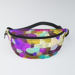 psychedelic geometric circle pattern and square pattern abstract in pink purple yellow blue Fanny Pack