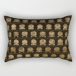 Maya Calendar Glyphs pattern Gold on brown Rectangular Pillow