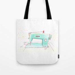 Vintage White 43-8 Sewing Machine in Aqua Tote Bag