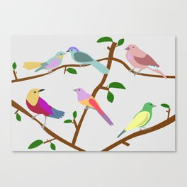Birds on a tree Canvas Print