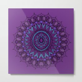 Bohemian Mandala in Plum with Turquoise Metal Print