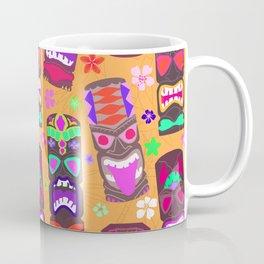 Retro Tiki Mask Luau in Mod Orange Coffee Mug