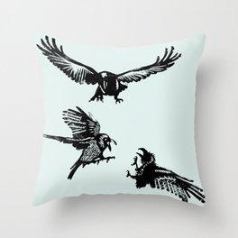 Crow Parliament Throw Pillow