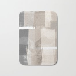 "Grey and Beige Minimalist Geometric Abstract ""Building Blocks"" Bath Mat"