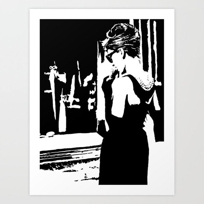 Audrey Hepburn in movie Breakfast at Tiffany's. Black and white portrait, monochrome stencil art Art Print