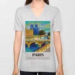 Vintage 1957 Paris River Seine & Notre-Dame Cathedral Travel Advertising Poster by Jacques Garamond Unisex V-Neck