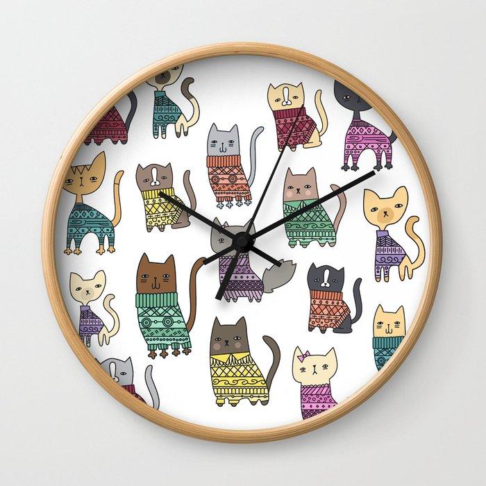 sweater cats Wall Clock