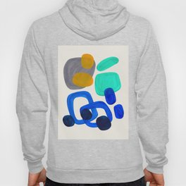 Mid Century Modern Abstract Minimalist Fun Colorful Shapes Marine Green Retro Vintage Fun Shapes Hoody