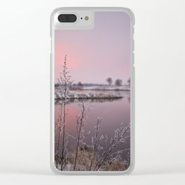 Winter Sunset At River Bank Clear iPhone Case