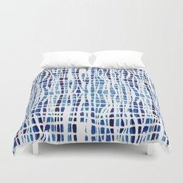 Shibori Braid Vivid Indigo Blue and White Duvet Cover
