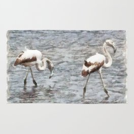 Be A Flamingo Watercolor Rug