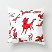 foxes Throw Pillows featuring Foxes by Kit Seaton