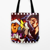 grafitti Tote Bags featuring Grafitti Strip Film by Squint Photography
